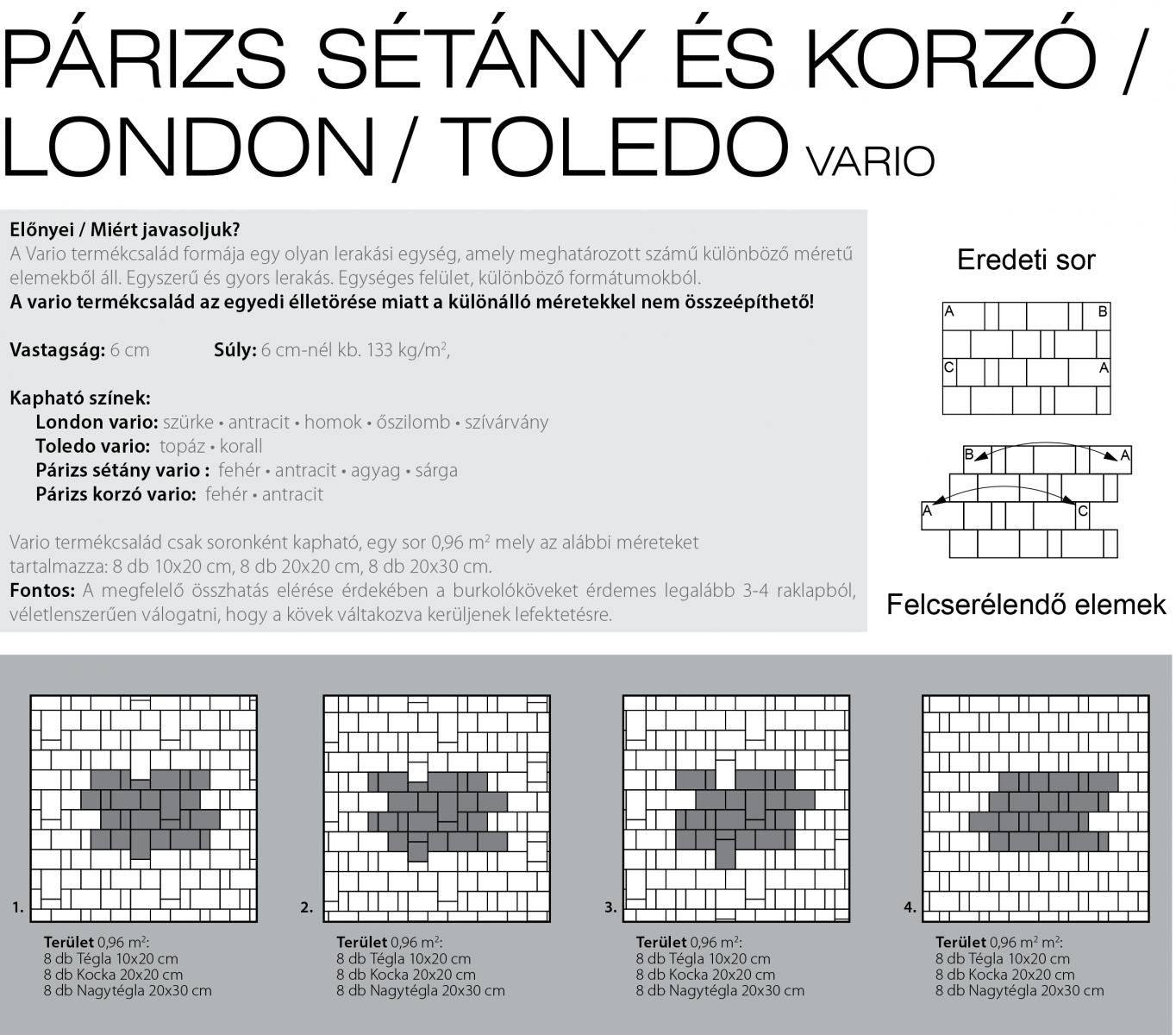 Sétány Vario technikai információi